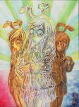 3girls animal_ears bangs blazer closed_mouth collared_shirt colored_pencil_(medium) commentary_request cookie_(touhou) cowboy_shot hisui_(cookie) jacket long_hair looking_at_viewer making-of_available metal_hisui_(cookie) metal_skin multiple_girls necktie rabbit_ears reisen_udongein_inaba seal_impression shirt skirt swept_bangs touhou traditional_media yukiman