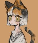 1girl animal_ears bob_cut cat_ears cat_tail closed_mouth furry looking_at_viewer original shirt short_hair simple_background sketch slit_pupils solo sparrowl tail white_shirt wide-eyed yellow_background yellow_eyes
