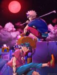 2boys alternate_costume bakugou_katsuki bandaged_arm bandages bangs black_shirt blue_eyes boku_no_hero_academia building commentary_request copyright_request foot_up freckles frown full_moon goggles goggles_on_head green_footwear green_hair green_pants hamster_hat holding holding_weapon jewelry looking_at_viewer male_focus midoriya_izuku moon multiple_boys necklace night orange_shirt outdoors pants red_moon red_pants sad shirt shoes sitting skull_necklace sky sneakers spiky_hair squatting star_(symbol) t-shirt tonomayo twitter_username watch watch weapon yellow_footwear