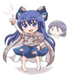 2girls :d bangs barefoot blue_bow blue_eyes blue_hair bow bracelet cape closed_mouth debt drawstring eyebrows_visible_through_hair full_body grey_cape grey_hoodie hair_bow hood hoodie jewelry long_hair looking_at_viewer multicolored_hairband multiple_girls open_mouth pointing pointing_down pointing_up purple_hair rokugou_daisuke short_hair short_sleeves signature simple_background smile solid_oval_eyes standing tenkyuu_chimata thinking touhou very_long_hair white_background yorigami_shion