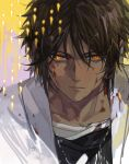 1boy arknights bangs black_shirt blood blood_on_face bloody_clothes bright_pupils brown_hair ear_clip earrings jewelry male_focus shirt short_hair solo thorns_(arknights) upper_body xiandao1213 yellow_background yellow_eyes