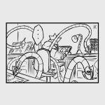 1boy apoloniodraws breasts cigarette doctor_octopus drawing highres male_focus marvel multitasking speech_bubble studio tablet utensil