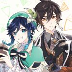 2boys androgynous bangs beer_mug beret black_gloves black_hair blue_hair bow braid brooch brown_hair closed_mouth collared_cape collared_shirt commentary commentary_request cup earrings eyebrows_visible_through_hair eyeliner eyeshadow flower formal frilled_sleeves frills gem genshin_impact gloves gradient_hair green_eyes green_headwear grin hair_between_eyes hat hat_flower highres holding holding_cup jacket jewelry leaf long_hair long_sleeves looking_at_another looking_at_viewer makeup male_focus mizuamememe mug multicolored_hair multiple_boys necktie open_mouth red_eyeshadow shirt short_hair_with_long_locks sidelocks simple_background single_earring smile suit symbol_commentary tassel tassel_earrings teeth triangle twin_braids venti_(genshin_impact) vest white_background white_flower white_shirt yellow_eyes zhongli_(genshin_impact)