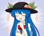 1girl bangs black_headwear blouse blue_hair bow closed_eyes food fruit hand_on_own_chin hat hinanawi_tenshi long_hair okamochi_(pi-chiki) open_mouth peach red_bow simple_background smile sparkle touhou white_background