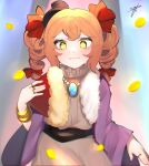 1girl bangle bangs blue_background blurry blush bow bracelet chromatic_aberration closed_mouth coat depth_of_field dress drill_hair eyebrows_behind_hair fan flat_chest fur_trim hair_bow hair_ribbon hand_up hat highres holding holding_fan jewelry light_smile long_hair long_sleeves looking_at_viewer majime_joe mini_hat motion_blur necklace orange_hair pink_dress purple_coat red_bow ribbon ring signature simple_background solo top_hat touhou tress_ribbon twin_drills wide_sleeves yellow_eyes yorigami_jo'on