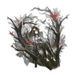 1girl animal_ears arknights arrow_(projectile) bangs bare_shoulders bare_tree belt bird black_belt black_choker black_legwear bow_(weapon) brown_hair choker detached_sleeves flower folinic_(arknights) folinic_(lasting_arrowroot)_(arknights) hair_flower hair_ornament heibaise_jiangshi highres holding holding_arrow holding_bow_(weapon) holding_weapon infection_monitor_(arknights) long_hair long_sleeves looking_at_viewer official_alternate_costume official_art ponytail red_flower sitting smile solo thigh-highs toeless_legwear transparent_background tree weapon white_flower yellow_eyes