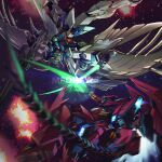 armor battle beam_rifle beam_saber brayanong999 buster_rifle clash energy_gun energy_sword feathers fighting glowing glowing_eyes green_eyes gundam gundam_epyon gundam_wing gundam_wing_endless_waltz highres holding holding_weapon mecha mechanical_wings no_humans sword v-fin weapon whip wing_gundam_zero_custom wings