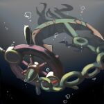 air_bubble anchor bubble chain commentary_request dhelmise gen_7_pokemon half-closed_eye kym no_humans pokemon pokemon_(creature) red_eyes ship's_wheel solo underwater