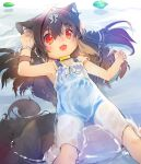 1girl animal_ear_fluff animal_ears arm_up armpits blue_swimsuit brown_hair child collar dog_ears dog_girl dog_tail dress fangs hair_intakes highres kannagi_cocoa long_hair open_mouth original red_eyes ribbon school_swimsuit see-through smile solo strap_slip sundress swimsuit swimsuit_under_clothes tail toba_hiyoko water wet wet_clothes wet_dress white_dress
