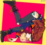 1boy alternate_costume bakugou_katsuki bangs black_footwear blonde_hair boku_no_hero_academia boots brown_jacket commentary_request cross-laced_footwear ear_piercing earrings food green_background hand_up holding jacket jewelry long_sleeves male_focus open_clothes open_jacket open_mouth pants piercing pink_background pocky shoes short_hair solo spiky_hair tonomayo torn_clothes torn_pants twitter_username upside-down