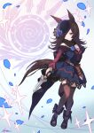 1girl animal_ears black_footwear brown_hair brown_legwear closed_mouth dress full_body hair_over_one_eye hand_up highres holding holding_sword holding_weapon horse_ears horse_tail kotatsu_(g-rough) long_hair long_sleeves off-shoulder_dress off_shoulder one_eye_covered pink_eyes rice_shower_(umamusume) scabbard sheath shoes short_sword signature solo sword tail thigh-highs umamusume weapon