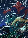 1boy action apoloniodraws boku_no_hero_academia crossover highres male_focus marvel midoriya_izuku multiple_boys shounen_jump silk spider-man spider_web superhero swinging