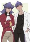 2boys bangs black_pants black_shirt blurry brothers buttons closed_mouth commentary_request cravat crossed_arms glasses hand_in_pocket highres hop_(pokemon) labcoat leon_(pokemon) long_hair long_sleeves male_focus multiple_boys older orange_eyes pants pokemon pokemon_(game) pokemon_swsh purple_hair remo0517 shirt short_hair siblings smile tailcoat white_neckwear