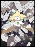 absurdres closed_eyes commentary_request facing_viewer gen_3_pokemon green_ribbon highres jirachi mythical_pokemon no_humans open_mouth outline outstretched_arms pokemon pokemon_(creature) ribbon rubble shabana_may solo sparkle tongue
