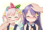 2girls ^_^ absurdres airani_iofifteen angry bangs bare_shoulders black_shirt blush bow cheek_pinching chibi closed_eyes collar crescent crescent_hair_ornament eyebrows_visible_through_hair green_bow green_headband hair_bow hair_ornament hands_on_own_chest headband headpat highres holding_another's_arm hololive hololive_indonesia ikazu401 long_hair moon_(ornament) moona_hoshinova multiple_girls one_side_up open_mouth out_of_frame overalls paint_in_hair paint_on_face paint_stains paint_tube palette_hair_ornament pinching pink_hair purple_hair red_bow red_headband shirt smile star_(symbol) star_hair_ornament twintails very_long_hair white_collar white_shirt younger