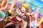 aimoto_rinku blonde_hair blush d4dj dress long_hair red_eyes smile wink