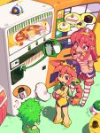 3girls ? ?? cake covered_navel eyebrows_visible_through_hair food green_hair hairband horns long_hair metata multiple_girls navel one-piece_swimsuit open_mouth original pink_eyes pink_hair plate pointy_ears ponytail shadow short_hair single_horn striped striped_legwear swimsuit thigh-highs white_horns yellow_hairband yellow_swimsuit