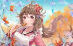 1girl ahoge animal_ears apron arknights blurry blurry_background brown_hair eyebrows_visible_through_hair eyjafjalla_(arknights) fish food frilled_apron frills goldfish hair_between_eyes hair_ornament highres horns humiaojun japanese_clothes kimono long_hair long_sleeves looking_at_viewer red_eyes sheep_ears sheep_girl sheep_horns takoyaki upper_body wa_maid water_drop wind_chime