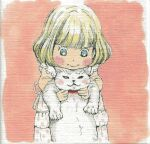 1girl animal animal_collar back_bow bangs beige_background blonde_hair blue_eyes blunt_bangs blush_stickers bob_cut border bow cat child closed_mouth collar dot_nose dress facing_viewer head_rest holding holding_animal holding_cat kawamoto_momo lace lace-trimmed_sleeves lace_trim looking_at_animal looking_down polka_dot polka_dot_dress red_collar sangatsu_no_lion short_hair simple_background solo umino_chika wavy_mouth white_border white_bow white_dress
