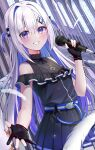 1girl amane_kanata angel angel_wings bare_shoulders belt black_dress black_gloves blue_belt blue_hair blue_wings blush colored_inner_hair dress feathered_wings feathers gloves gradient gradient_wings grin hair_between_eyes hair_intakes hair_ornament hairclip highres holding holding_microphone hololive long_hair microphone midori_matsukaze mini_wings multicolored multicolored_hair multicolored_wings music partially_fingerless_gloves pleated_dress reaching_out short_dress silver_hair singing sleeveless sleeveless_dress smile solo thigh_strap violet_eyes virtual_youtuber white_wings wings