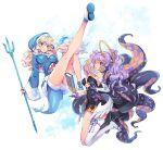 2girls bare_legs bare_shoulders blonde_hair blue_jacket book breasts commentary_request cosplay detached_sleeves drawstring dress gawr_gura gawr_gura_(cosplay) gloves halo highres holding holding_weapon hololive hololive_english hood hooded_jacket jacket large_breasts long_hair matsuda_(matsukichi) multiple_girls ninomae_ina'nis ninomae_ina'nis_(cosplay) pencil_dress polearm ponytail purple_gloves purple_hair red_eyes shoes short_dress siblings single_thighhigh sisters strapless strapless_dress tentacles thigh-highs thighs touhou trident watatsuki_no_toyohime watatsuki_no_yorihime weapon white_background white_legwear