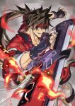 1boy brown_hair commentary_request cowboy_shot fingerless_gloves fire fireseal forehead_protector gloves grin guilty_gear jacket long_hair male_focus ponytail red_eyes red_jacket saeki_shun smile sol_badguy solo sword weapon