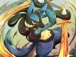 fire gen_4_pokemon glowing glowing_eyes holding holding_sword holding_weapon itsudzumi leg_up light_trail lucario pokemon pokemon_(creature) red_eyes solo spikes sword swords_dance_(pokemon) weapon yellow_fur