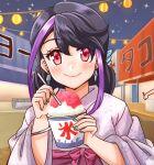 1girl bracelet closed_mouth earrings eyebrows_visible_through_hair female festival holding_cup kimono kurosaki_ruri multicolored_hair pink_eyes purple_hair smile solo strt summer yuu-gi-ou yuu-gi-ou_arc-v