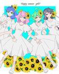 4girls bangs bracelet bracelet_girls closed_mouth english_text hiiragi_yuzu kichi246 kurosaki_ruri multicolored_hair open_mouth rin_(yuu-gi-ou_arc-v) serena_(yuu-gi-ou_arc-v) smile summer white_dress yellow_flower yuu-gi-ou yuu-gi-ou_arc-v