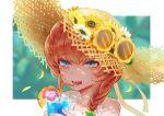 1girl blue_eyes braid brown_hair drink drinking_straw fate/grand_order fate_(series) flower hat pineapple_slice shimogamo_(shimomo_12) straw_hat sunflower sunglasses van_gogh_(fate)