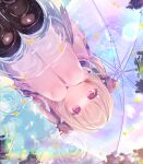 1girl black_bow black_footwear black_skirt blue_nails blush bow brown_hair commentary_request dutch_angle hair_bow highres holding holding_umbrella jacket komachi_pochi long_sleeves looking_at_viewer makaino_ririmu nail_polish nijisanji parted_lips pink_jacket pleated_skirt puddle red_eyes reflection ripples shoes skirt sleeves_past_wrists socks solo squatting transparent transparent_umbrella two_side_up umbrella virtual_youtuber water white_legwear