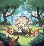 1girl artist_request barbara_(genshin_impact) bird blonde_hair chibi closed_eyes drill_hair fox genshin_impact long_sleeves music musical_note official_art open_mouth singing smile solo squirrel star_(symbol) tree twin_drills twintails