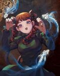 1girl :d animal_ear_fluff animal_ears bangs black_bow black_nails blunt_bangs bow braid breasts brown_background cat_ears cat_tail claw_pose covered_navel dress earrings effy_liu extra_ears fish_bone green_dress hair_bow hair_ribbon hands_up highres hitodama jewelry juliet_sleeves kaenbyou_rin large_breasts lips long_hair long_sleeves looking_at_viewer multicolored multicolored_eyes multiple_tails nail_polish nekomata open_mouth puffy_sleeves red_eyes redhead ribbon simple_background slit_pupils smile solo tail touhou tress_ribbon twin_braids twintails two_tails upper_body