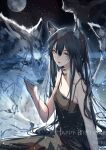 1girl animal_ear_fluff animal_ears arknights artist_name bangs bare_shoulders black_dress black_hair chinese_commentary clouble commentary_request dated dress english_text hair_between_eyes happy_birthday highres long_hair looking_at_viewer moon parted_lips petting scar scar_across_eye sky solo star_(sky) starry_sky texas_(arknights) wolf wolf_ears wolf_girl