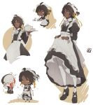 2boys accident ahoge apron arknights black_dress black_footwear black_hair bow bowtie brown_background cellphone chibi closed_mouth clothes_lift collar commentary_request crossdressing dark-skinned_male dark_skin dress dress_lift dropping elysium_(arknights) expressionless eyebrows_visible_through_hair grey_eyes hair_ribbon highres juliet_sleeves lifted_by_self long_sleeves maid maid_apron maid_headdress male_focus multiple_boys multiple_views pantyhose phone puffy_sleeves ribbon short_hair skirt smartphone sparkle sweatdrop taking_picture teapot thorns_(arknights) tray white_background white_collar white_legwear white_neckwear white_skirt yellow_ribbon yuzuriha_(ryami)