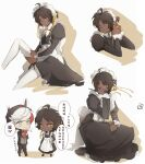 2boys adjusting_clothes adjusting_legwear ahoge apron arknights black_dress black_hair bow bowtie brown_background cellphone chinese_text closed_mouth collar commentary_request crossdressing dark-skinned_male dark_skin dress dressing elysium_(arknights) eyebrows_visible_through_hair hair_ribbon highres juliet_sleeves long_sleeves maid maid_apron maid_headdress male_focus multiple_boys multiple_views orange_eyes phone puffy_sleeves ribbon short_hair smartphone speech_bubble thigh-highs thorns_(arknights) translation_request walkie-talkie white_background white_collar white_legwear white_neckwear yellow_ribbon yuzuriha_(ryami)