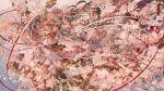 1girl bell cherry_blossoms clip_studio_paint_(medium) eyeliner eyeshadow highres japanese_clothes jingle_bell kagura_suzu long_hair makeup nanahara_shie original short_eyebrows solo thick_eyebrows very_long_hair