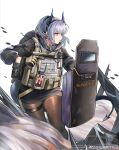 1girl absurdres arknights backpack bag black_legwear blue_hair chinese_commentary commentary_request dragon_girl dragon_horns dragon_tail flag gloves gun handgun highres holding holding_gun holding_shield holding_weapon horns jia_redian_ruzi_ruzi liskarm_(arknights) liskarm_(overload)_(arknights) looking_afar looking_to_the_side miniskirt official_alternate_costume orange_eyes pantyhose pistol ponytail riot_shield shield shoes silver_hair skirt smoke sneakers solo spiked_tail standing tactical_clothes tail weapon weibo_username white_background