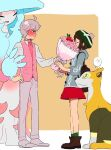 1boy 1girl ? ahoge alternate_costume applin backpack bag bangs bede_(pokemon) blush boltund boots bouquet brown_bag brown_footwear brown_hair cable_knit cardigan closed_mouth commentary_request curly_hair dress flower from_side gen_8_pokemon gloria_(pokemon) green_headwear green_legwear grey_cardigan grey_hair hand_on_hip hat hatterene hetero holding holding_bouquet hooded_cardigan nashubi_(to_infinity_wow) necktie pants pink_flower pink_neckwear pink_vest pokemon pokemon_(creature) pokemon_(game) pokemon_swsh red_dress shirt short_hair socks spoken_question_mark standing sweatdrop tam_o'_shanter vest