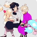 1boy 1girl ahoge alcremie alcremie_(strawberry_sweet) bangs bede_(pokemon) black_hair black_nails black_skirt blonde_hair closed_eyes closed_mouth coat commentary_request dynamax_band gen_8_pokemon gloves grey_background grey_shirt hands_together hattrem invisible_chair leggings long_sleeves looking_at_another milcery nail_polish nashubi_(to_infinity_wow) opal_(pokemon) pantyhose partially_fingerless_gloves pokemon pokemon_(creature) pokemon_(game) pokemon_swsh purple_coat shirt shoes short_hair single_glove sitting skirt sleeves_rolled_up smile time_paradox younger