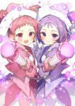 2girls :d blush closed_mouth cowboy_shot double_bun dress earrings gloves harukaze_doremi hat highres holding holding_wand jewelry looking_at_viewer magical_girl multiple_girls ojamajo_doremi one_side_up open_mouth pink_dress pink_eyes pink_gloves pink_hair pink_headwear purple_dress purple_hair purple_headwear ring ryota_(ry_o_ta) segawa_onpu short_hair signature simple_background smile sparkle violet_eyes wand white_background witch_hat