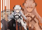 1girl arknights belt black_skirt chest_strap commentary dragon_horns earrings english_commentary expressionless hair_between_eyes high-waist_skirt horns id_card jewelry long_hair looking_at_viewer lyps orange_background orange_eyes parted_lips riot_shield saria_(arknights) shield silver_hair simple_background single_earring skirt solo stud_earrings symbol_commentary syringe_gun teeth zoom_layer
