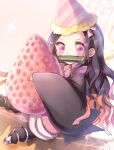 1girl black_hair blush chibi commentary_request food fruit gag hat highres holding holding_food kamado_nezuko kimetsu_no_yaiba long_hair looking_at_viewer party_hat pink_eyes ro_(igris-geo) sidelocks sleeves_past_wrists solo strawberry wide_sleeves