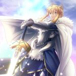1girl ahoge armor artoria_pendragon_(all) artoria_pendragon_(lancer)_(fate) blonde_hair braid cape closed_mouth clouds commentary_request crown excalibur_(fate/stay_night) eyebrows_visible_through_hair fate/grand_order fate_(series) french_braid fur-trimmed_cape fur_trim gauntlets glowing glowing_weapon green_eyes hair_between_eyes hair_ornament holding holding_sword holding_weapon light_particles looking_away migiha outdoors short_hair sidelocks sky solo sword weapon white_cape
