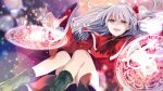 1girl :d absurdres bangs black_footwear boots cross-laced_footwear dress eyebrows_visible_through_hair grey_hair hair_bobbles hair_ornament highres katayama_kei light_particles long_hair long_sleeves looking_at_viewer one_side_up open_mouth red_dress red_eyes shinki_(touhou) smile solo touhou touhou_(pc-98) wide_sleeves