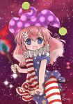 1girl american_flag_dress american_flag_legwear biyon blue_eyes blush bow clownpiece clownpiece_(cosplay) cosplay cowboy_shot dress dress_tug fairy_wings flower flower-shaped_pupils hair_between_eyes hair_flower hair_ornament hat holding holding_torch jester_cap long_hair looking_at_viewer mouse_tail neck_ruff open_mouth pink_bow pink_hair polka_dot_headwear purple_headwear short_sleeves show_by_rock!! solo star_(sky) starry_background tail tail_bow tail_ornament torch touhou twitter_username un_(show_by_rock!!) upper_body wings