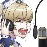 alpen barbara_(genshin_impact) blonde_hair emoji genshin_impact hat headphones microphone music screaming self_upload singing sweat