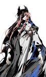 1boy absurdres arknights black_cloak blue_eyes bright_pupils chinese_commentary cloak coat commentary_request feather_hair feet_out_of_frame forehead_jewel gloves highres ling_s long_hair looking_at_viewer male_focus parted_lips passenger_(arknights) pink_hair red_pupils shaded_face simple_background solo white_background white_coat white_gloves white_pupils