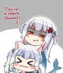 >_< 2girls anger_vein animal_ears bangs blue_hair blue_hoodie blush blush_stickers cat_ears cheek_pull closed_eyes commentary dark_persona dual_persona english_commentary english_text evil_grin evil_smile eyebrows_visible_through_hair fish_tail gawr_gura grey_background grin hair_cubes hair_ornament hololive hololive_english hood hoodie long_sleeves multicolored_hair multiple_girls red_eyes redhead rutorifuki shaded_face shark_tail sharp_teeth side_ponytail silver_hair smile streaked_hair tail tears teeth two-tone_background two_side_up virtual_youtuber white_background wide_sleeves