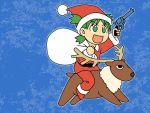 christmas gun koiwai_yotsuba santa_costume santa_hat yotsubato!